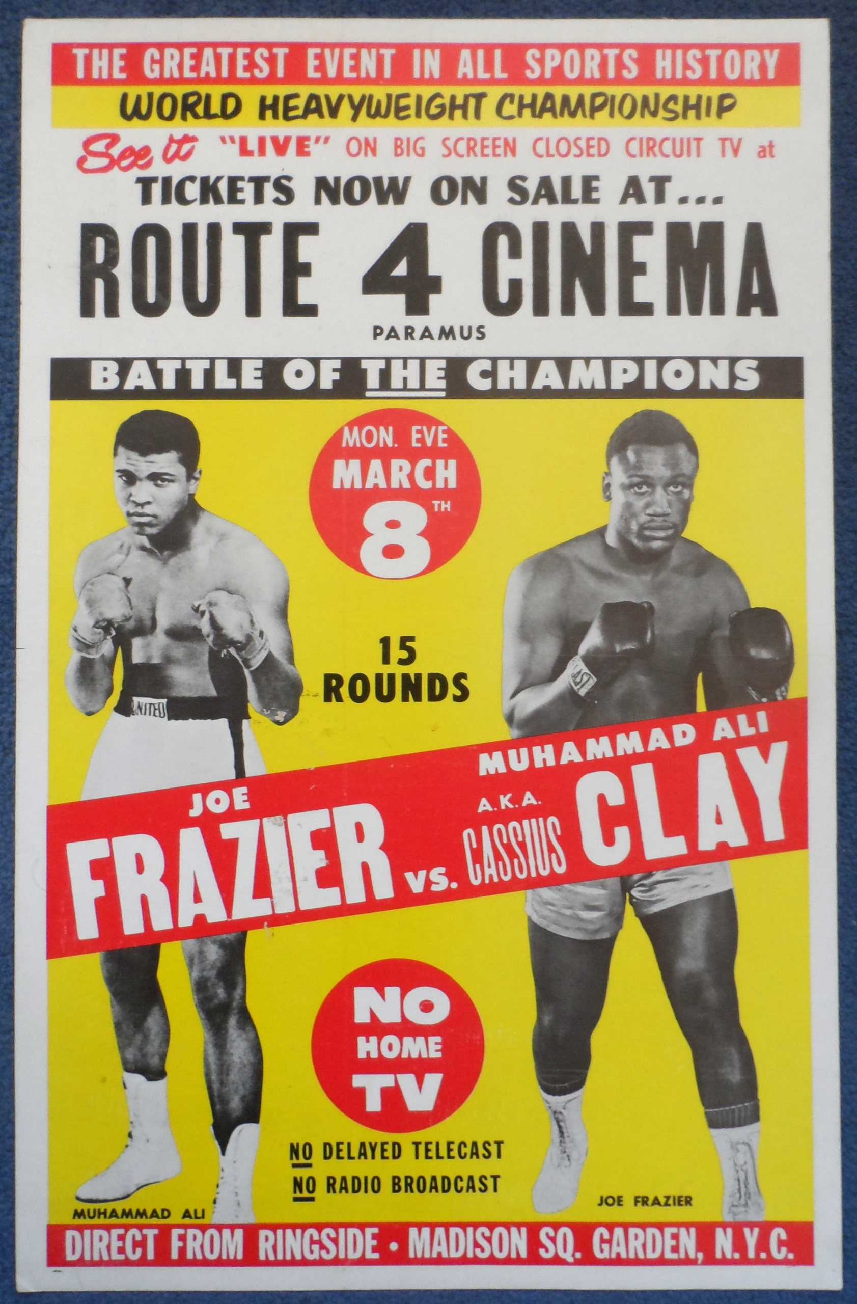 1971 Muhammad Ali V Joe Frazier Closed Circuit Poster
